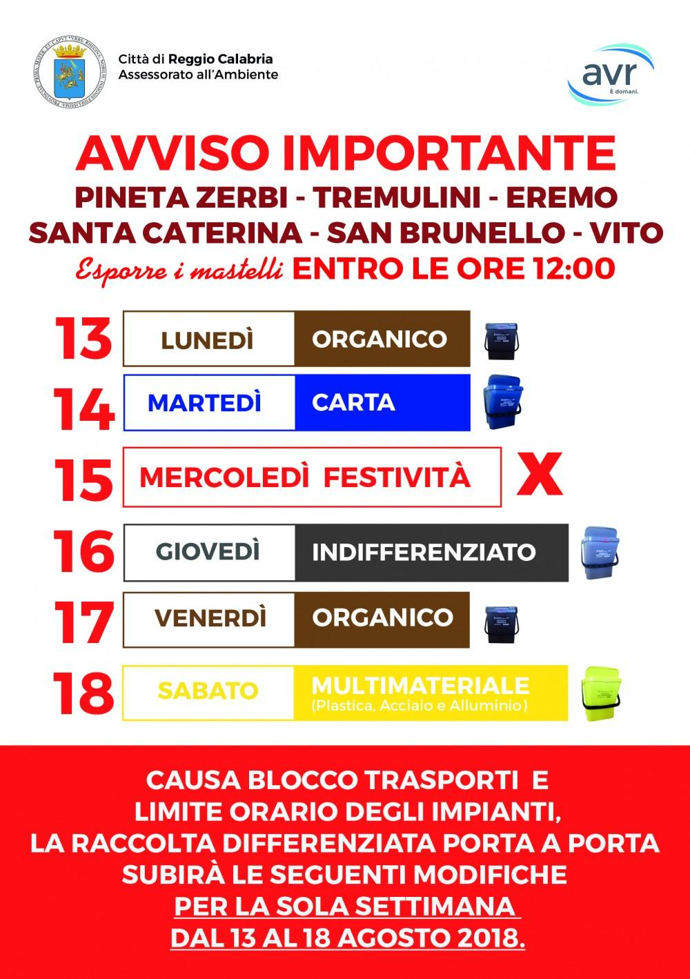 Calendario Raccolta Differenziata Reggio Calabria.Raccolta Differenziata Avviso Modifica Calendario Per La