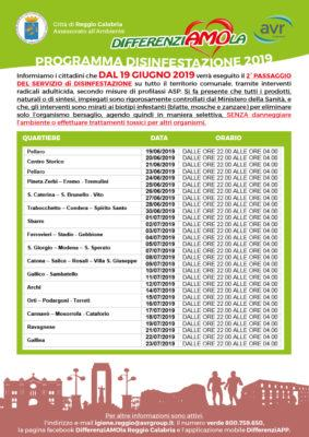 Calendario Di Luglio.Servizio Di Disinfestazione A Reggio Calabria Il Calendario