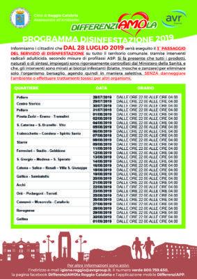 Pagina Di Calendario Luglio 2019.Servizio Di Disinfestazione Di Reggio Calabria Il