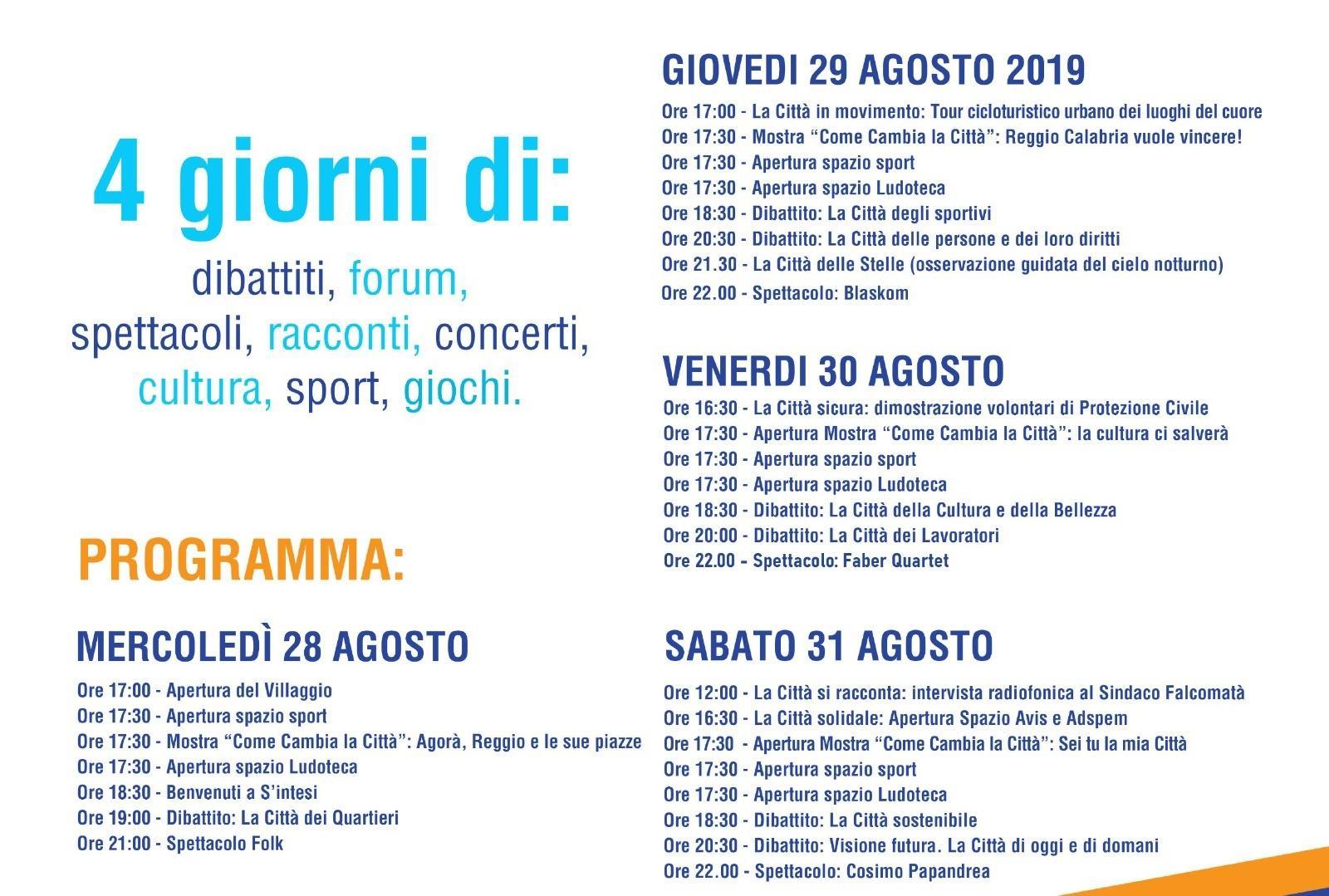 Calendario Concerti Calabria.Reggio S Intesi Ai Nastri Di Partenza Il Programma