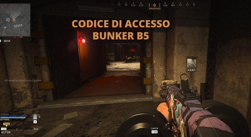 Codice Accesso Bunker B5 Junkyard Warzone