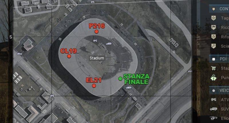 Warzone Mappa Stanze Segrete Stadio Chiave Accesso Blu