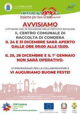 Servizio Di Igiene Urbana Del Comune Di Reggio Calabria AVVISO FESTIVITÀ NATALIZIE