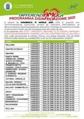 Calendario Disinfestazione Reggio Calabria 2021