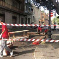 Reggio, Corso Matteotti si trasforma: al lavoro per il posizionamento dei dehors - FOTO