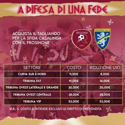 Prezzi Reggina Frosinone